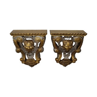 Maitland Smith Lion Carved Gilt Wall Shelves - A Pair For Sale