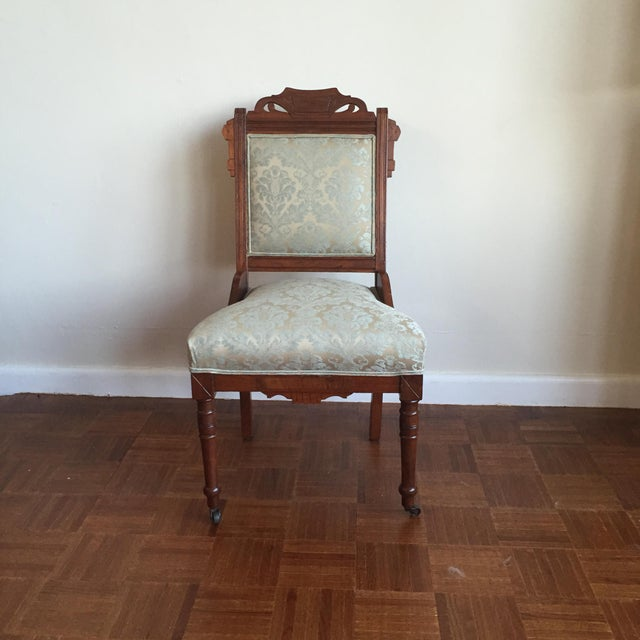 Antique Damask Upholstery Walnut East Lake Accent Chair