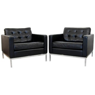 Mid-Century Modern Pair of Knoll Black Leather Chrome Tufted Cube Lounge Chairs For Sale