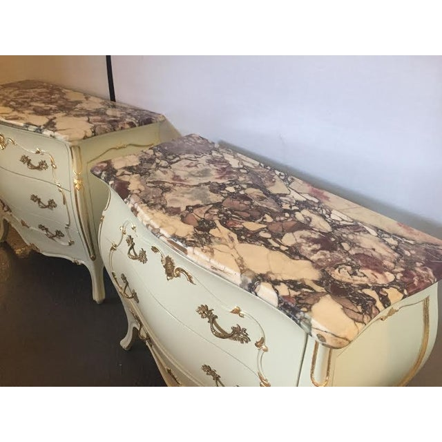 Paint Decorated Marble Top Chests- A Pair - Image 4 of 10