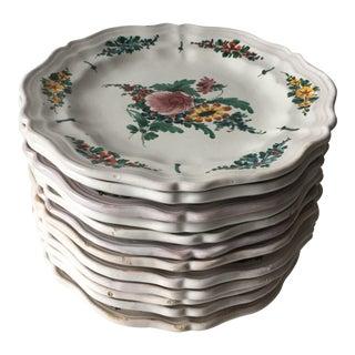 12 Vintage Italian Faience Hand-Painted Plates