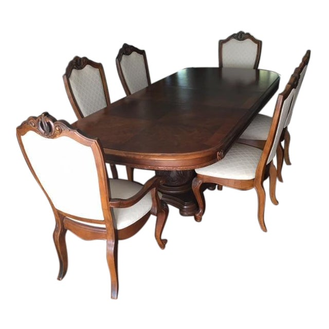 """Beautiful Bob Mackie designed double pedestal table (w/2-20"""" leaves) & 6 upholstered chairs. Chairs are upholstered in a..."""