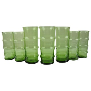 Mid-Century Bamboo Glasses - Set of 7 For Sale