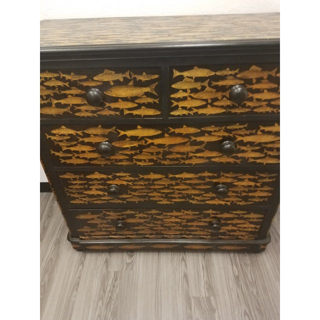 Antique English Fish Decoupage Chest of Drawers - Two Drawers over Three Drawers The chest is an antique that has been...