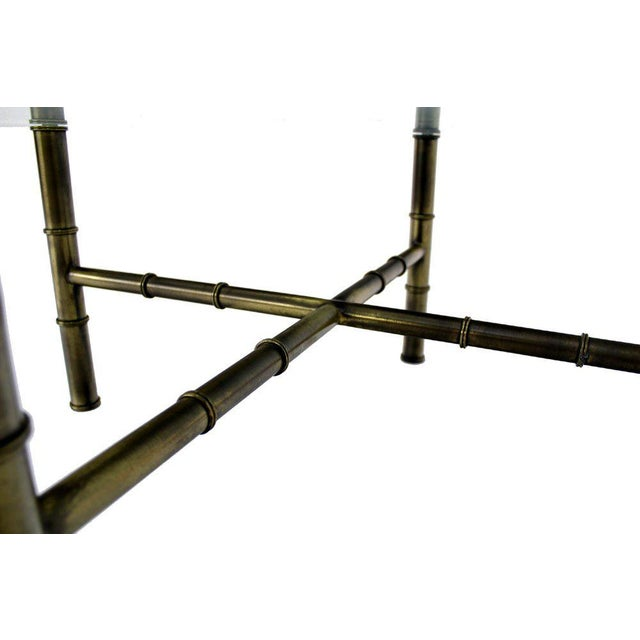 X Base Brass Faux Bamboo Square Glass Top Coffee Table For Sale - Image 4 of 8