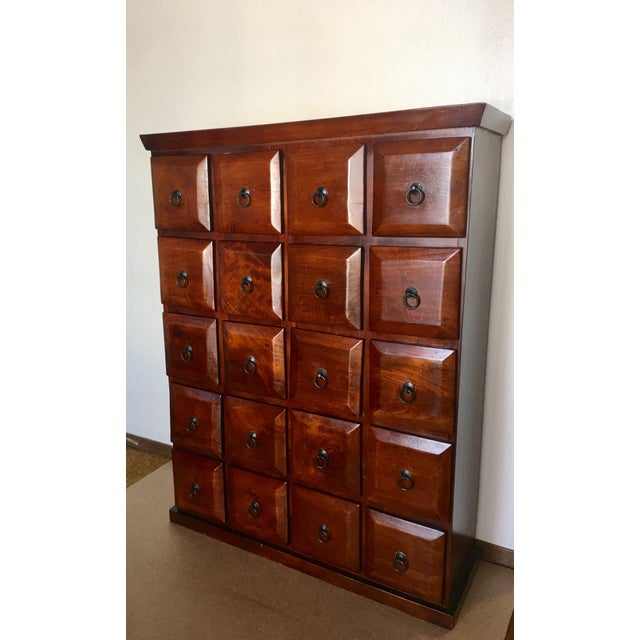 Vintage Mahogany Apothecary 20 Drawer Cabinet For Sale - Image 10 of 11