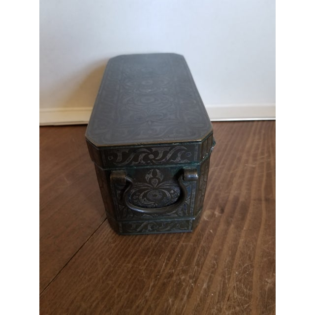 Bronze Antique Bronze and Silver Betel Box For Sale - Image 8 of 11