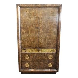 Mastercraft Burl and Brass Wardrobe Cabinet For Sale