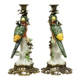 Image of French Green & Yellow Parrot Candlestick Candle Holders-a Pair For Sale