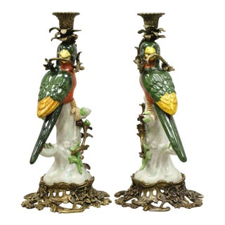 French Green & Yellow Parrot Candlestick Candle Holders-a Pair For Sale
