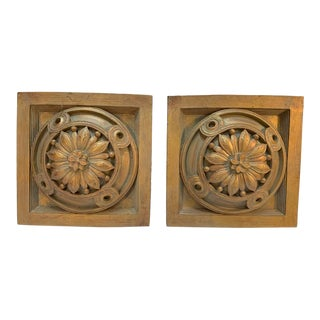 Square Cast Wall Medallions in Sunflower Design - a Pair For Sale