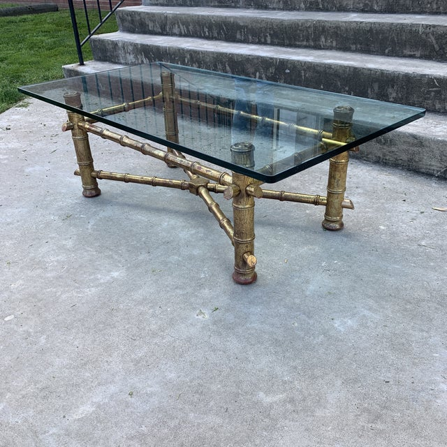 1970s Italian Gilt Faux Bamboo Glass Top Coffee Table For Sale - Image 4 of 13