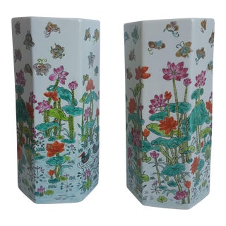 Vintage Chinoiserie Floral Butterfly Hexagonal Porcelain Vases - a Pair