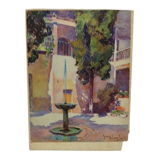 """1930s Vintage Mozius Hubert Roberts """"The Fountain"""" Mounted Print For Sale"""