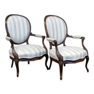 Late 19th Century Antique French Louis Philippe Fauteuils- A Pair For Sale