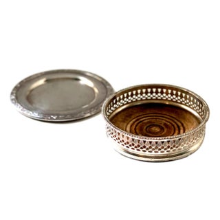 Antique Silver Plate Coasters - Set of 2 For Sale