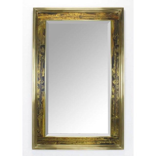 Pair of Mastercraft Bernhard Rohne Acid-Etched Frame Beveled Mirrors - Image 2 of 8