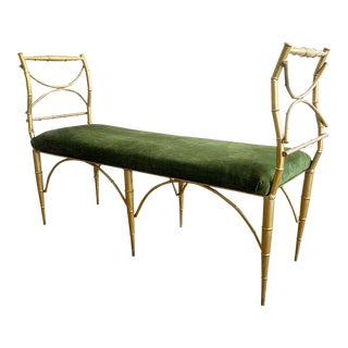 Hollywood Regency Faux Bamboo Italian Tole Gold Gilded Bench For Sale