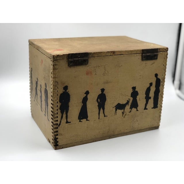 Metal 19th Century Silhouette Painted Wooden Box For Sale - Image 7 of 13