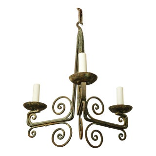 Simple Classic Painted Iron Chandelier For Sale