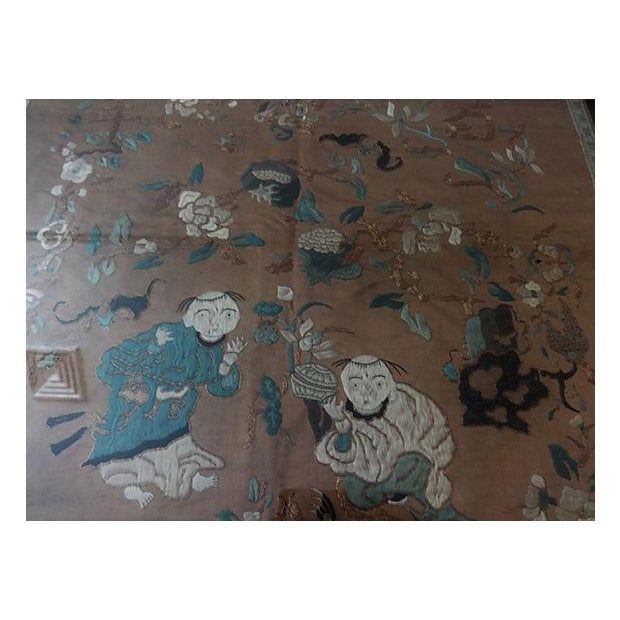 Antique Embroidery Silk Panel w/Kids - Image 4 of 10