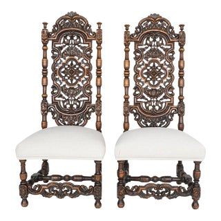 Antique Ornate French Side Chairs - a Pair For Sale