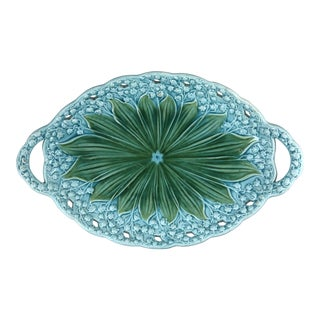 Majolica Lily of the Valley Platter With Handles