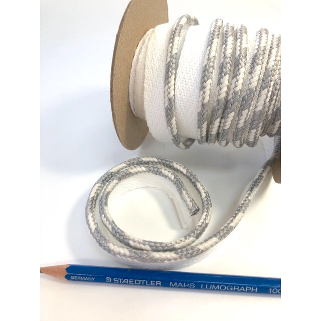 """Gray Braided 1/4"""" Indoor/Outdoor White/Gray Cord For Sale - Image 8 of 10"""