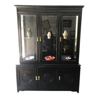 Mid Century Black Oriental China Hutch For Sale