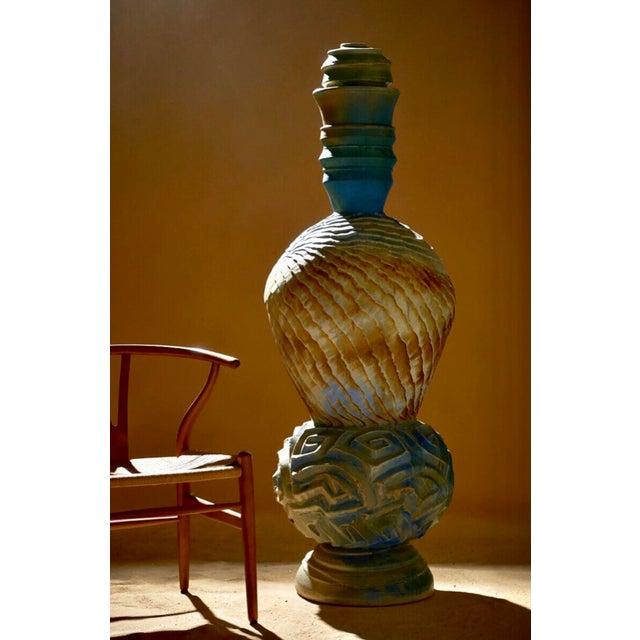 Blue Monumental Sculptural Studio Pottery Vessel Floor Vase by Josh Green For Sale - Image 8 of 8