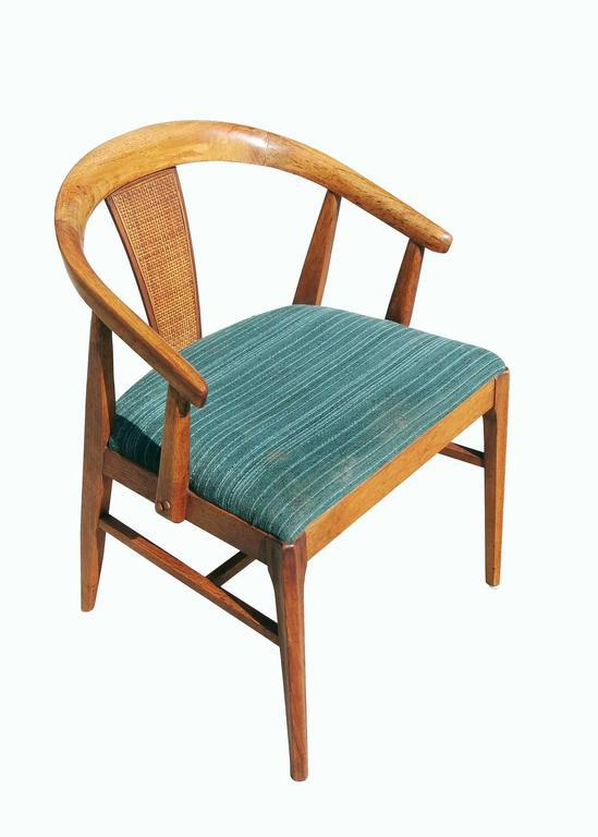 Pair Of James Mont Style Horseshoe Chair With Woven Wicker Back   Image 4  Of 9