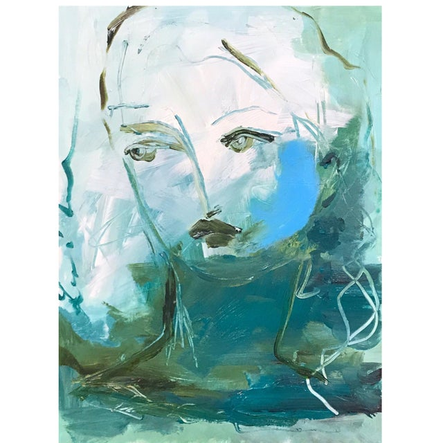 Abstract Expressionism Deep Teal Portrait by Leslie Weaver For Sale - Image 3 of 3