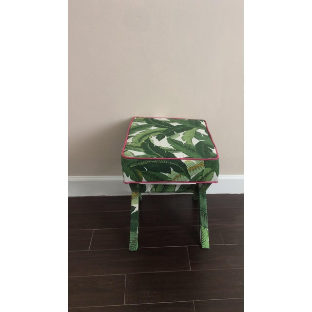 Hollywood Regency Modern Tommy Bahama Swaying Palm Fabrics X-Bench For Sale - Image 3 of 5