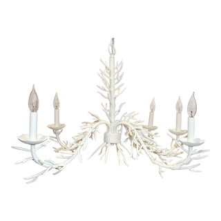 White 5 Arm Faux Coral Chandelier For Sale