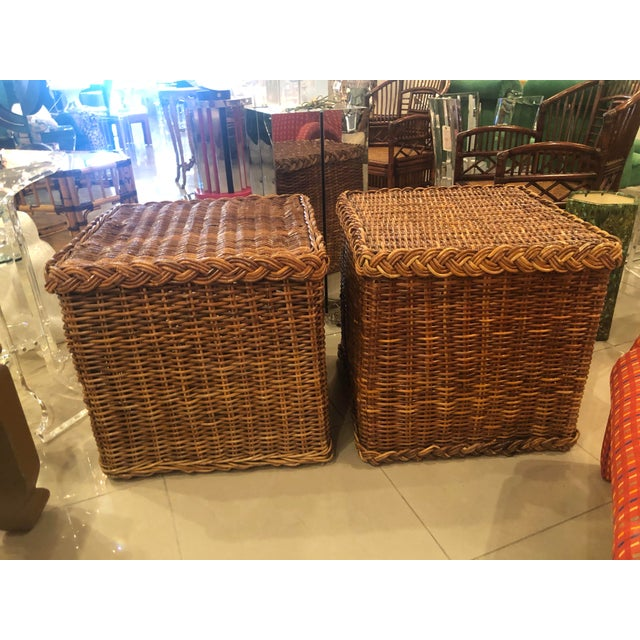 Lovely pair of vintage braided wicker rattan end side tables or benches. Circa 1970s.