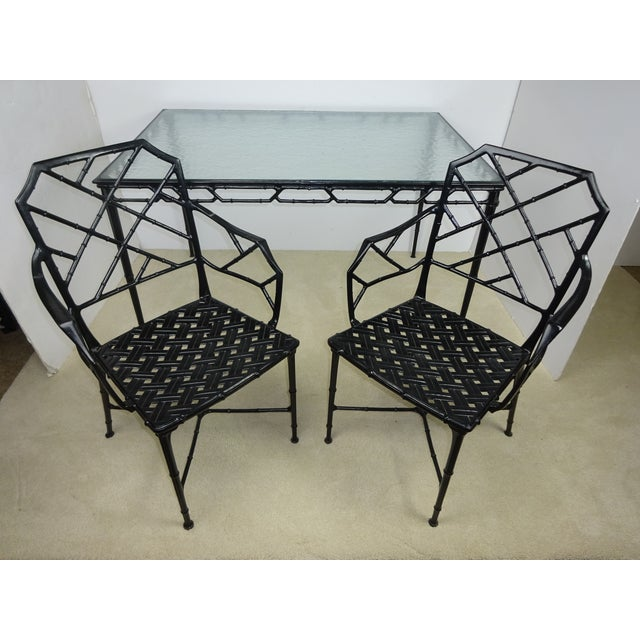 Brown Jordan Calcutta Faux Bamboo Table & Arm Chairs For Sale - Image 12 of 12