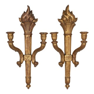 19th French Giltwood Torch Sconces - a Pair For Sale