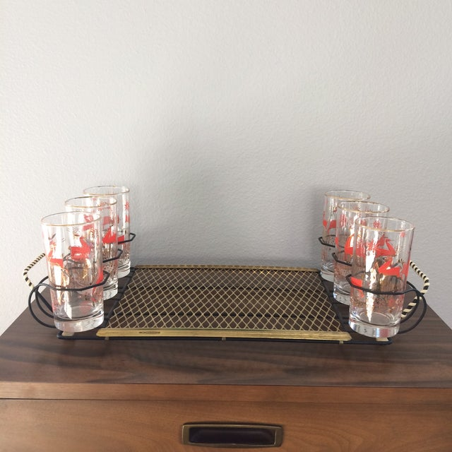 Mid-Century Metal 6-Glass Serving Tray - Image 7 of 11