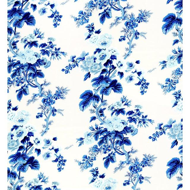 Schumacher Pyne Hollyhock Wallpaper in Indigo For Sale