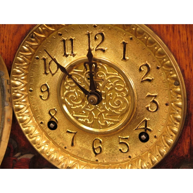 Traditional Antique Victorian Oak Mantle Clock For Sale - Image 3 of 10