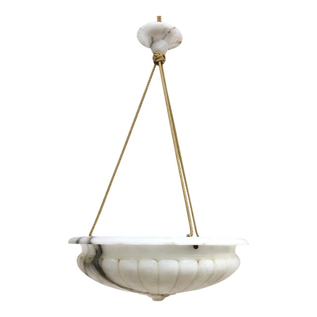 Vintage Carved Marble Bowl Chandelier With Gold Cord and Marble Canopy For Sale