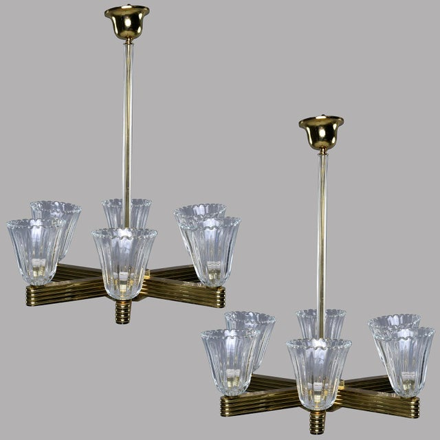 Ercole Barovier and Toso Six Light Brass Chandeliers - a Pair For Sale - Image 13 of 13