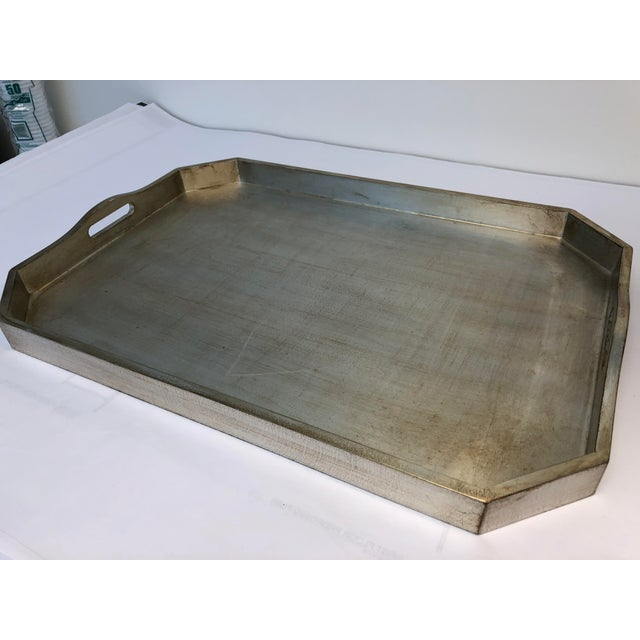 Wood Italian Silver Leafed Wooden Tray For Sale - Image 7 of 9