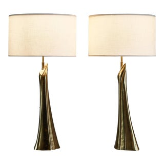 Pair of Sculptural Solid Bronze Table Lamps, 1960s For Sale