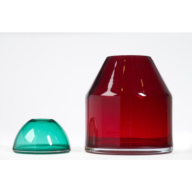 Glass Italian Red & Aqua Glass Lidded Vases - a Pair For Sale - Image 7 of 7
