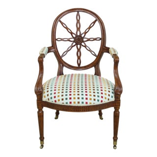 Adam Style Spiral Back Mahogany Arm Chair For Sale