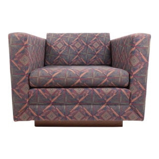 Mid Century Cube Gunlocke Plinth Base Lounge Chair For Sale