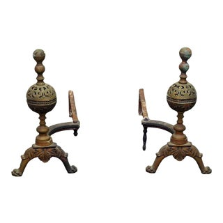 Cast Bronze Andirons - A Pair For Sale