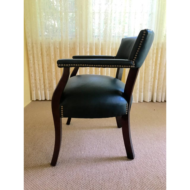 Mid Century Studded Green Leather Library Club Chair For Sale - Image 4 of 8