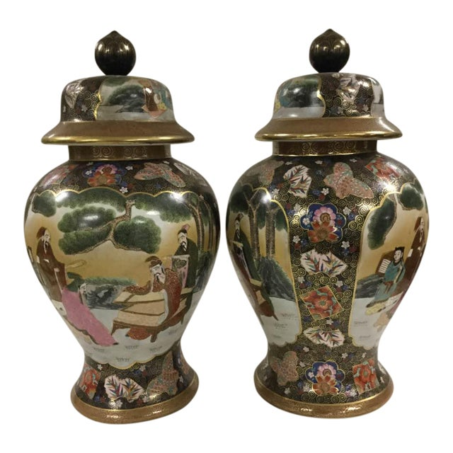 Chinese Famille Rose Vintage Style Temple Jar/Pair - Image 1 of 8